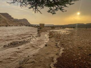 A flash flood in the central Negev