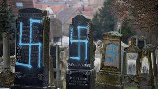 The Jewish cemetery in Strasbourg earlier this year following a similar defacement in February