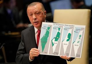 Turkish President Recep Tayyip Erdogan slams Israeli policy at the UN General Assembly in New York, Sept ember 2019