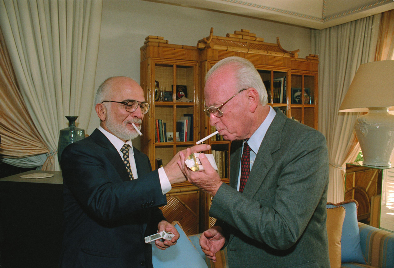 King Hussein of Jordan and Prime Minister Yitzhak Rabin at the White House in 1994