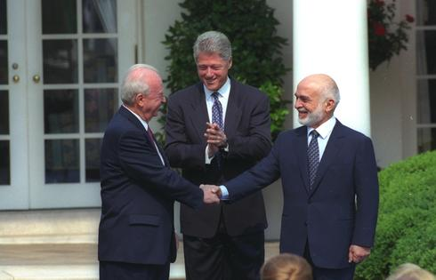 King Hussein of Jordan, Prime Minister Yitzhak Rabin and U.S. President Bill Clinton at signing the 1994 peace treaty at the White House