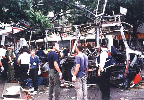 Suicide bombing attack by Hamas on a passenger bus in Tel Aviv