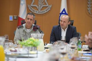 Chief of staff Aviv Kochavi left, and Minister of Defense Naftali Bennett