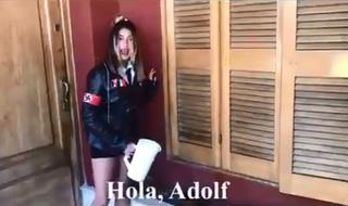 A still image taken from the 'Nazi Girl' video made by an Argentine history teacher and her class