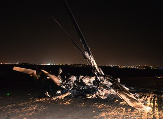 The burned remains of the aircraft