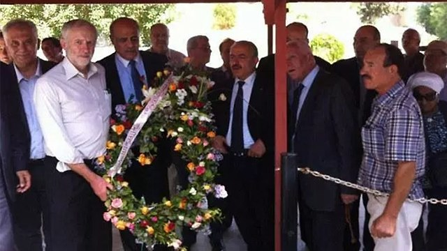 Jeremy Corbyn holds a wreath at the Tunis grave of Atef Bseiso, who helped plan the massacre of 11 Israeli athletes at the 1972 Munich Olympics