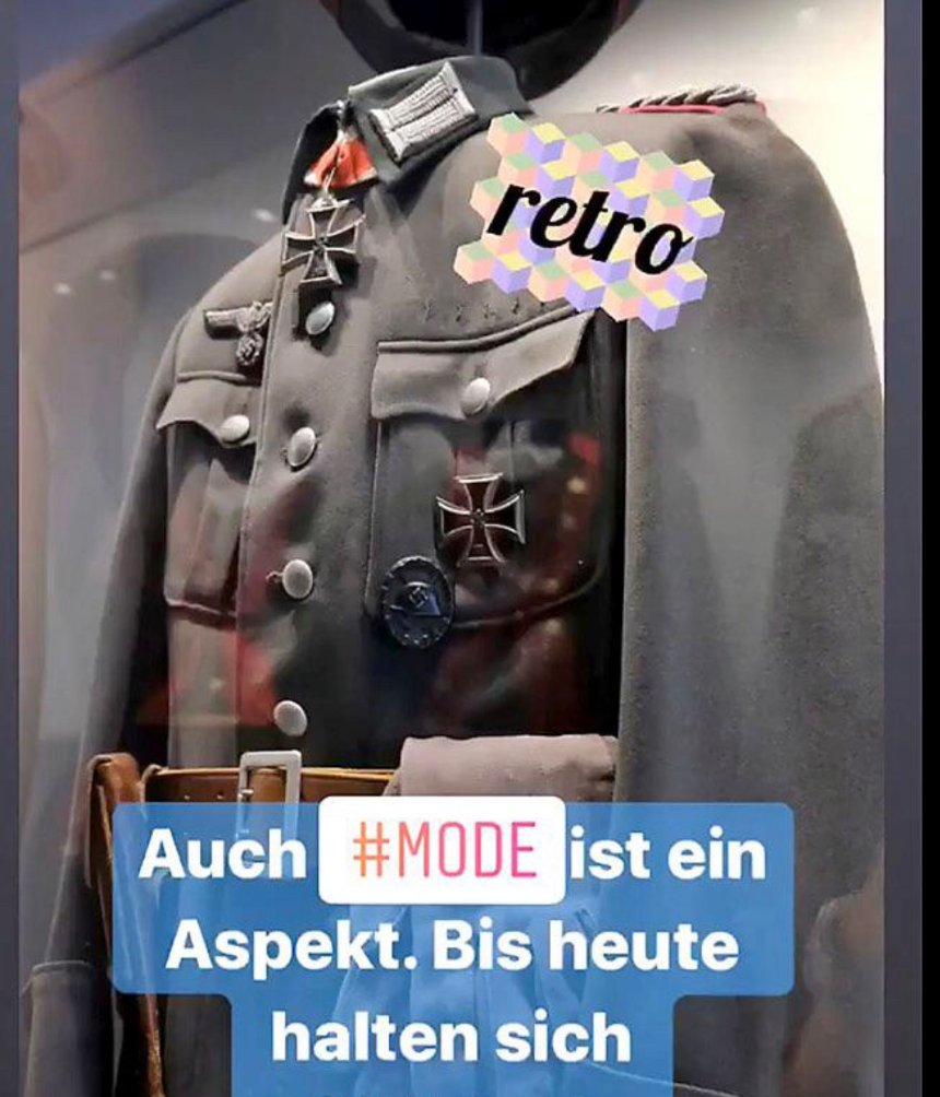 An Instagram post by the German Defense Ministry showing a Nazi uniform with the slogan 'retro'