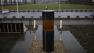 The urn placed in front of the German parliament that purportedly contained the remains of Holocaust victims