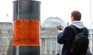Urn placed in front of the German parliament that those behind it claim contains Holocaust victims