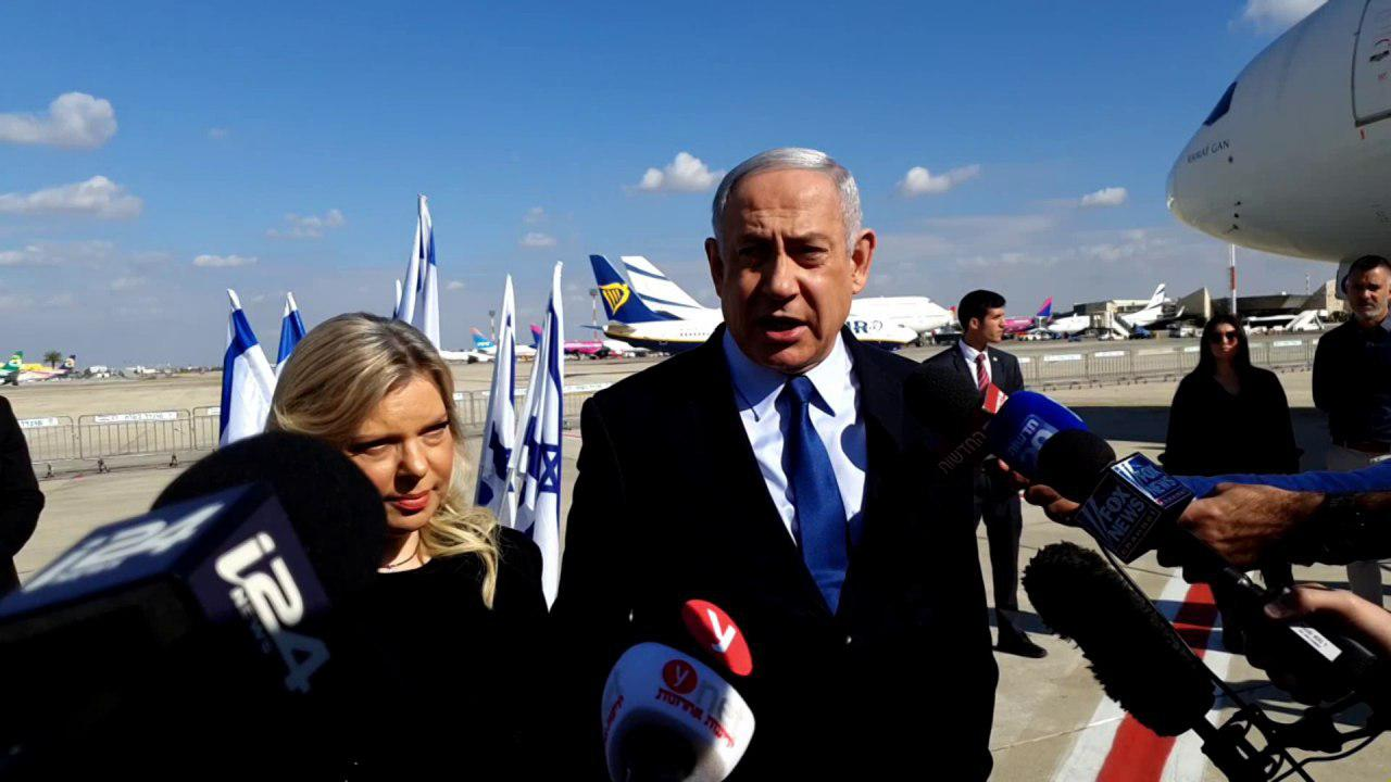 Benjamin Netanyahu speaks to reporters as he arrives in Lisbon for a meeting with U.S. Secretary of State Mike Pompeo