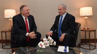 Benjamin Netanyahu meeting with U.S. Secretary of State Mike Pompeo in Lisbon on Wednesday