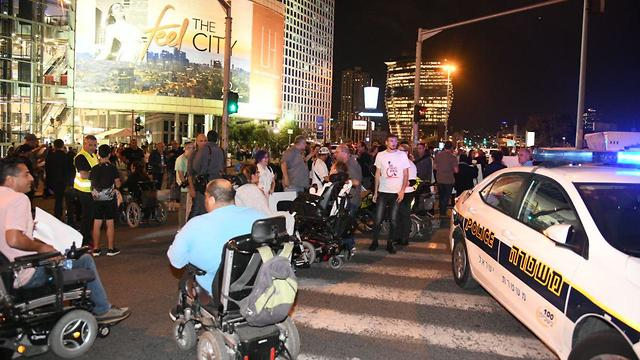 Those suffering from disabilities protesting in Tel Aviv