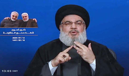 Hezbollah leader Hassan Nasrallah in televised speech to followers