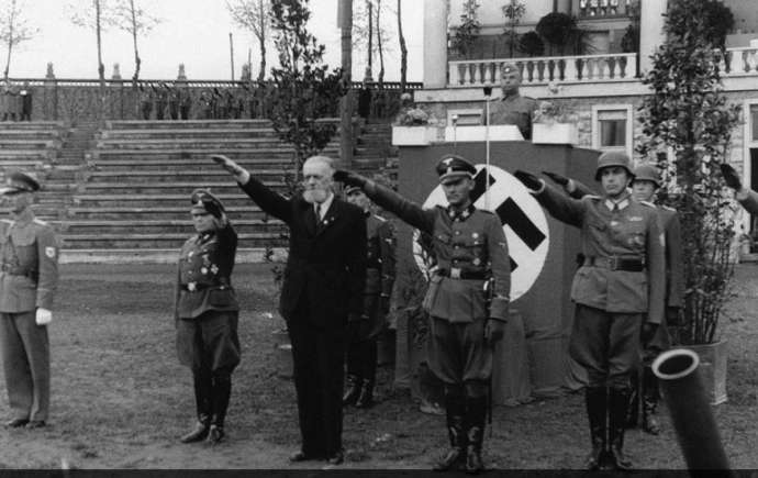 Leon Rupnik with Nazi officers during WWII