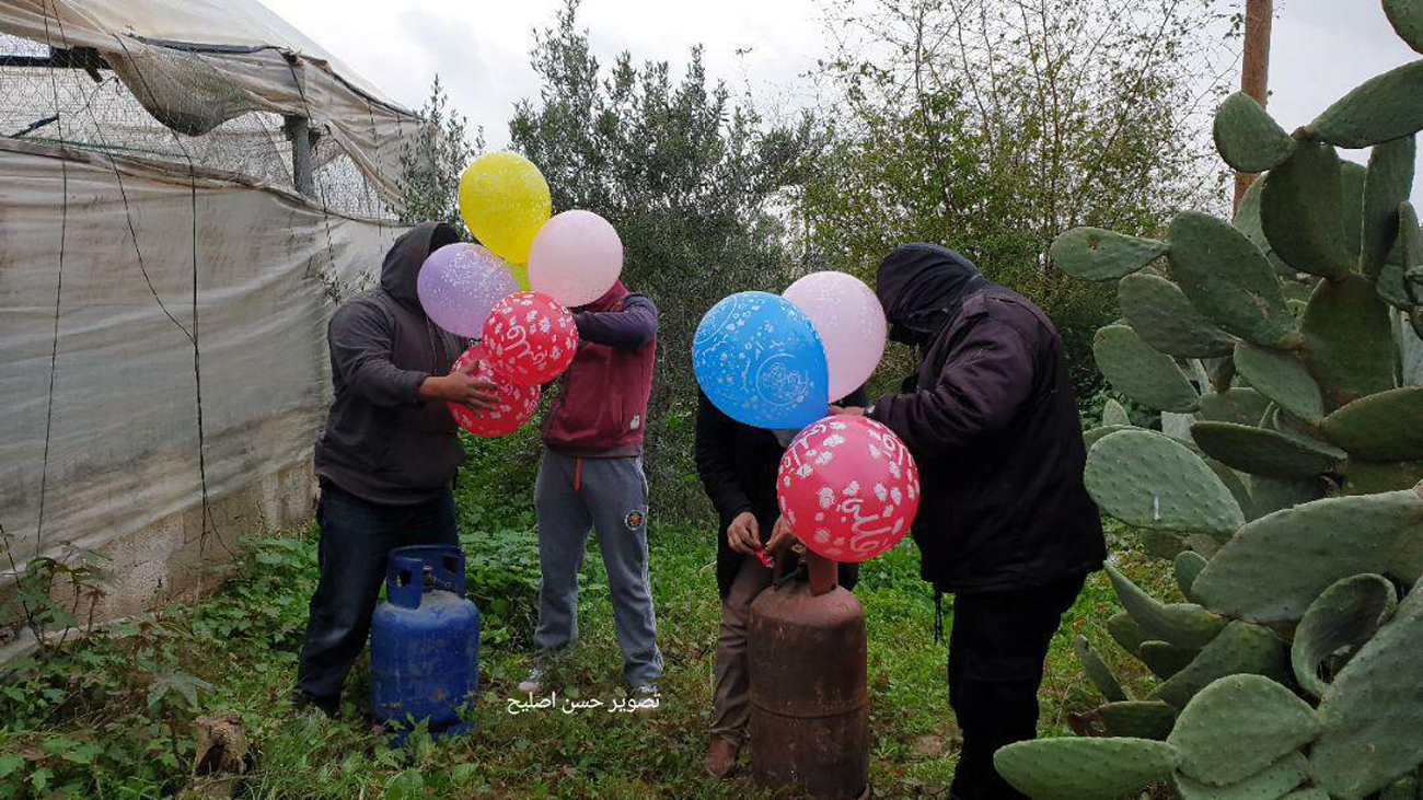 Incendiary balloons being prepared in Gaza