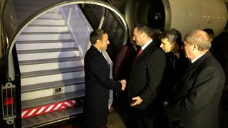 French President Emmanuel meets with MK Israel Katz upon arrival