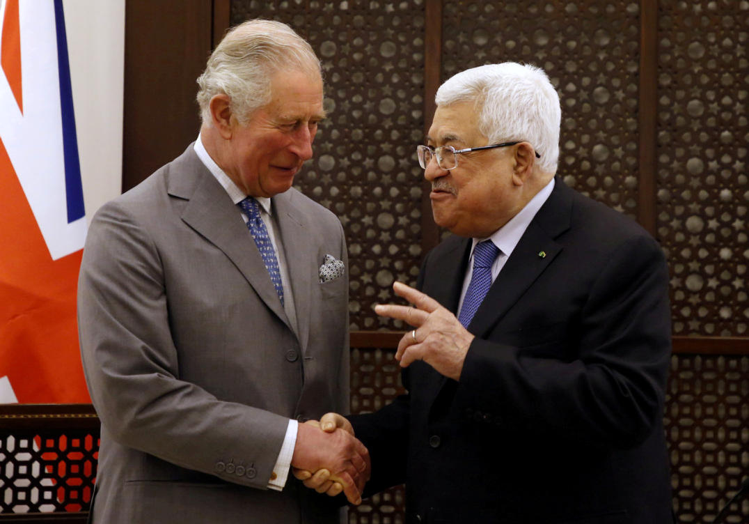 Prince Charles meets with Palestinian President Mahmoud Abbas in Bethlehem. Jan. 24, 2020
