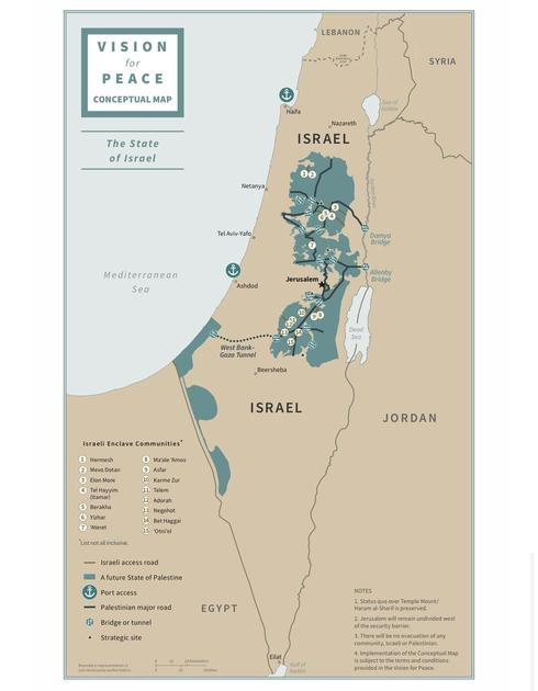 Conceptual map of Israel-Palestine as proposed in Trump peace plan