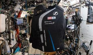 The space suit floating on the International Space Station