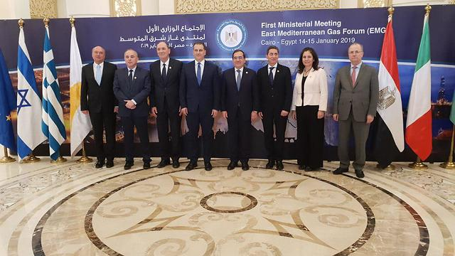 Energy Minister Yuval Steinitz, 2nd left, at the Eastern Mediterranean Gas Forum in Cairo, Jan. 2019