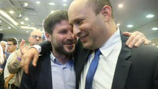 Prime Minister-designate Naftali Bennett, right, with former ally and Religious Zionist leader Bezalel Smotrich