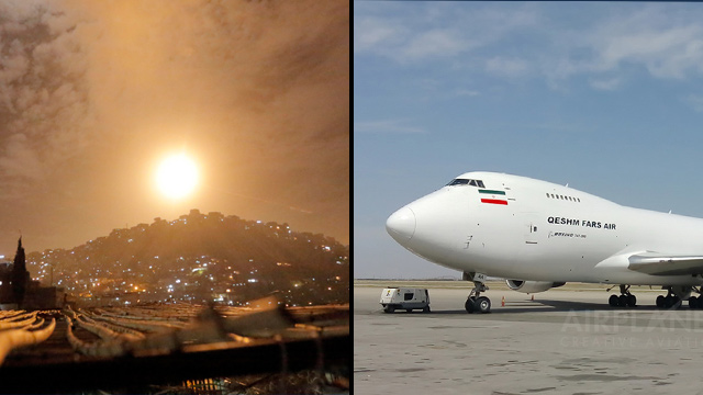 L-R: An alleged Israeli attack in Syria and the Boeing 747 that headed from Tehran to Damascus