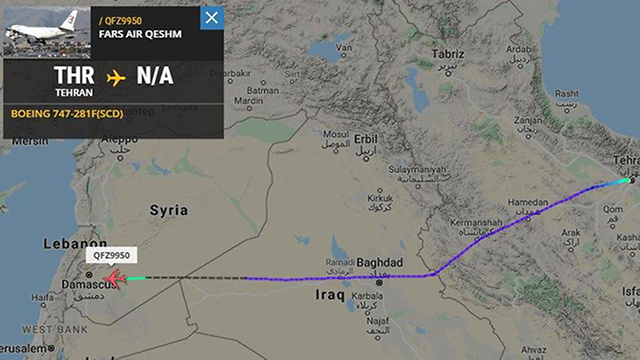 The flight path of the Revolutionary Guard plane from Tehran to Damascus