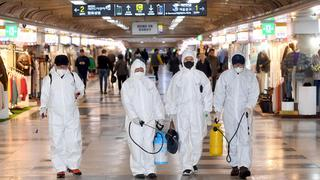 Public spaces being disinfected in South Korea