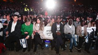 The families of those held captive take front row at the Be'er Sheva rally
