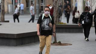 A woman wearing a protective mask in Jerusalem