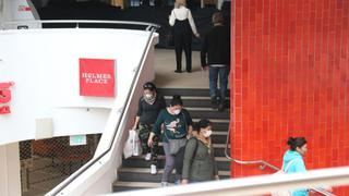 Shoppers wearing protective face masks inside Dizengoff Mall