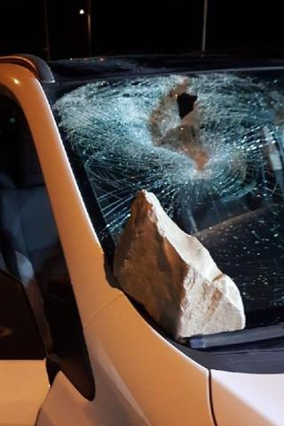 A rock thrown at an Israeli car by the perpetrators
