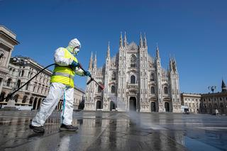 Disinfecting the street of Milan