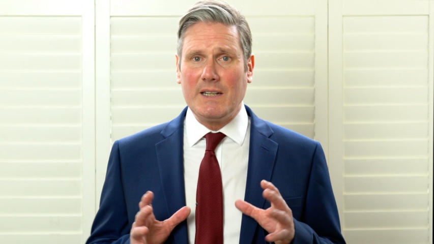Sir Keir Starmer delivers his acceptance speech after being elected as the new leader of the British Labour Party