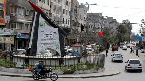 Gaza city center with Hamas monument