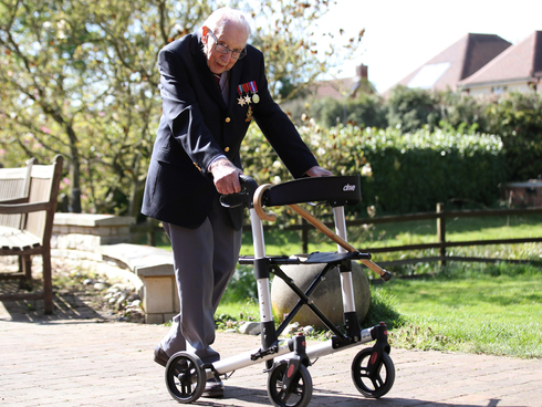 Captain Sir Tom Moore raised millions for the NHS by walking in his garden