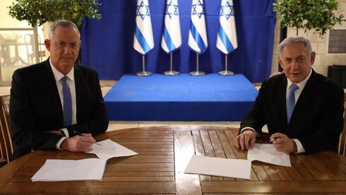 Blue &White leader Benny Gantz and Prime Minister Benjamin Netanyahu signing a coalition agreement in April 2020 for a government that lasted less than one year