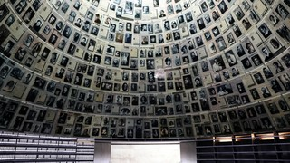 An interior view of a the empty Hall of Names at the deserted Yad Vashem Holocaust Memorial Museum in Jerusalem