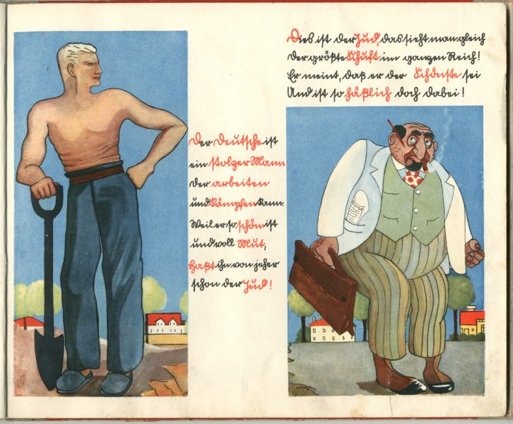 An image from Bauer's book showing the hard working German man, and the sneaky Jew
