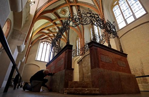 Restoration work at Pinkas Synagogue as Jewish Museum remains closed for public to curb spread of coronavirus disease in Prague, Czech Republic