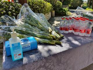 Hand sanitizer and gloves at a military cemetery in northern Israel