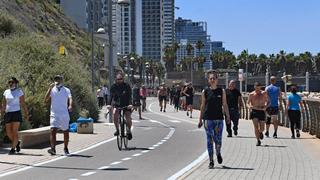 Tel Aviv's boardwalk packed on a Saturday afternoon