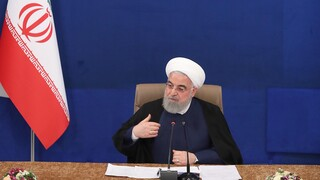 Iranian President Hassan Rouhani speaks during the cabinet meeting in Tehran, May 6, 2020