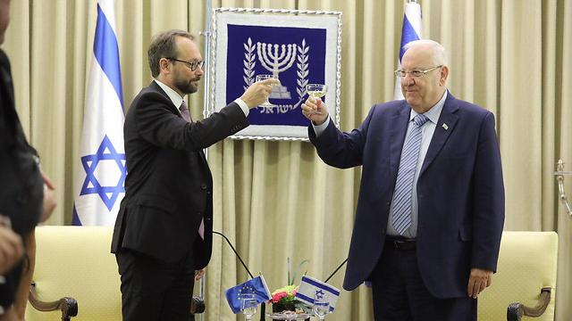 EU Ambassador to Israel Emanuele Giaufret and President Reuven Rivlin at the President's Residence in Jerusalem