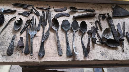 Objects that were found in Block 17 of the former Main Camp of the Auschwitz Nazi concentration camp