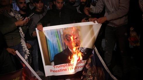 Anti-American demonstration in the West Bank following the unveiling of the Trump Mideast peace plan