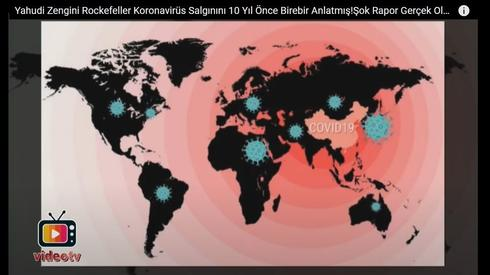 A scene from a Turkish video promoting an anti-Semitic conspiracy theory on the purported origin of the coronavirus