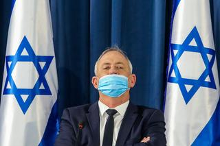 Defense Minister Benny Gantz wears a mask during a government meeting in Jerusalem