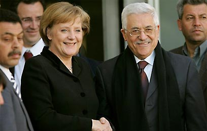 German Chancellor Angela Merkel meeting with Palestinian President Mahmoud Abbas