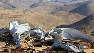 Structure demolished by security forces in illegal West Bank outpost